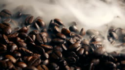 Smoke Wafting Over Roasted Coffee Beans