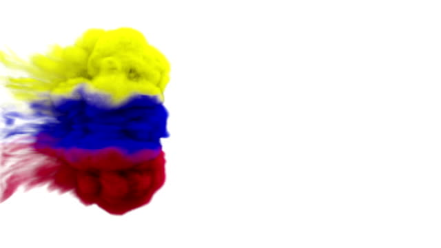 smoke with flag colours on white background colombia / iran - colombian flag stock videos and b-roll footage