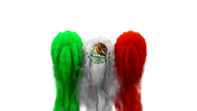 smoke with flag colours on white background mexico / senegal - mexico stock videos and b-roll footage