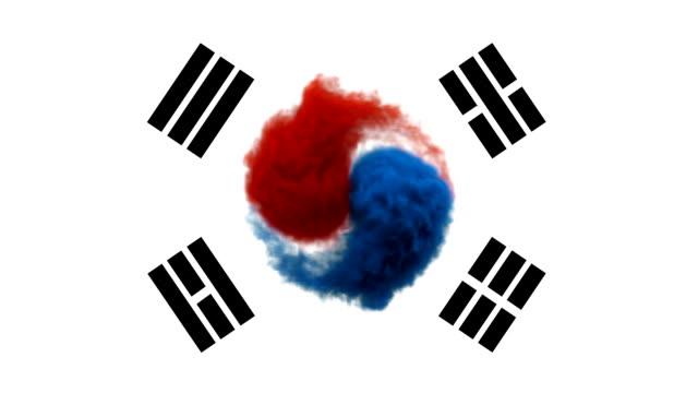 vídeos de stock, filmes e b-roll de fumaça com as cores da bandeira no fundo branco suíça / coreia do sul - coreia do sul