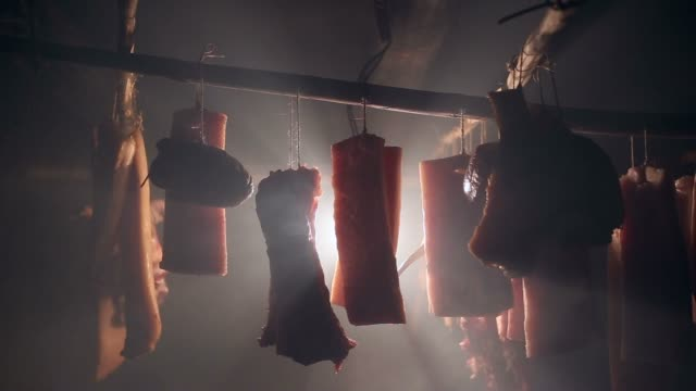 smoked pork meat in fullhd. - meat stock videos & royalty-free footage
