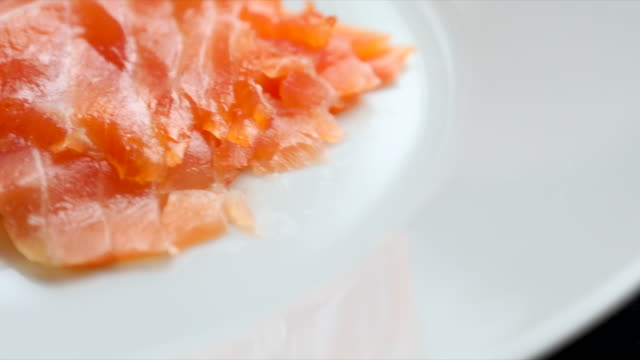 smoked salmon high in healthy omega-3 fatty acids - ketogenic diet stock videos & royalty-free footage