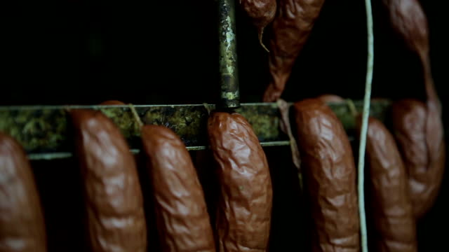 Smoked sausage in the factory