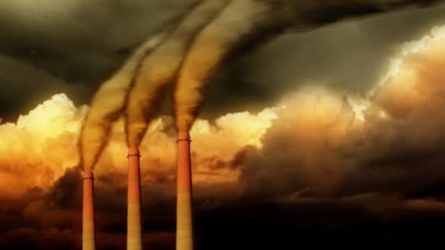 Smokestacks and Stormy Sky