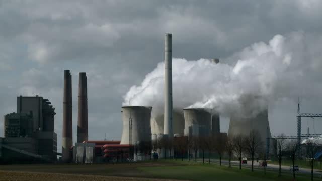 WS Smokestacks of RWE Coal Power Plant Neurath near Bergheim / Neurath, North Rhine Westfalia, Germany