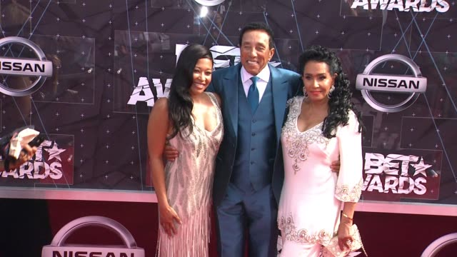 Smokey Robinson and Frances Robinson at the 2015 BET Awards on June 28 2015 in Los Angeles California