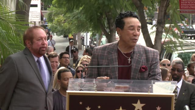 speech smokey robinson at ken ehrlich honored with star on hollywood walk of fame in los angeles ca on - smokey robinson stock-videos und b-roll-filmmaterial