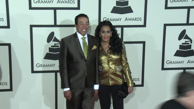 smokey robinson at the 57th annual grammy awards red carpet at staples center on february 08 2015 in los angeles california - smokey robinson stock-videos und b-roll-filmmaterial