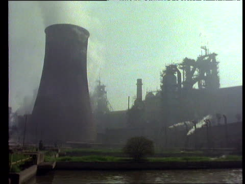 Smoking chimneys and pollution at steel works, Poland