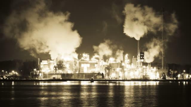 Smoking factory chimneys at night Time lapse video, Amsterdam