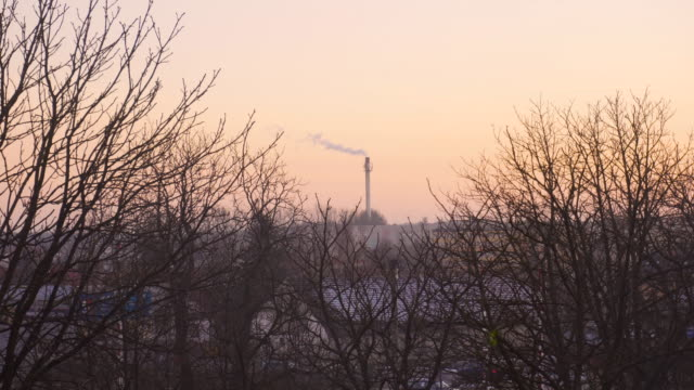 Smoking factory smoke stack