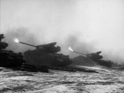 combat ha xws smoking land side top of mountain vs tanks angled up firing explosion on ridge soldiers running across field ws multiple explosions on... - kampfpanzer stock-videos und b-roll-filmmaterial