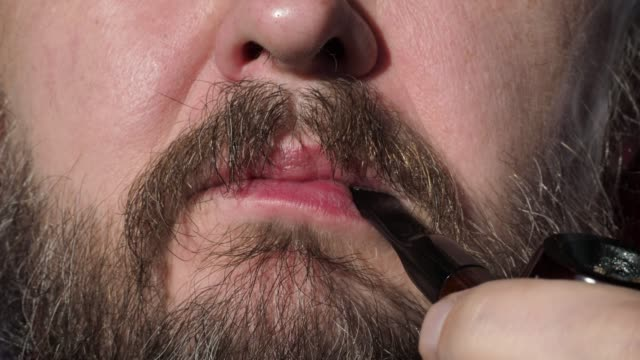 smoking man's mouth - one mature man only stock videos & royalty-free footage