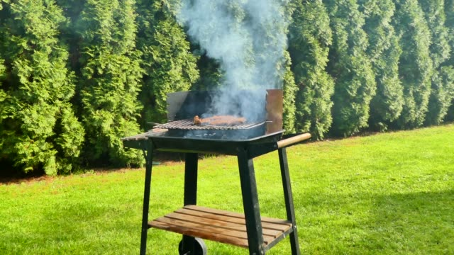 Smoking old-fashioned grill, barbecue in the green garden