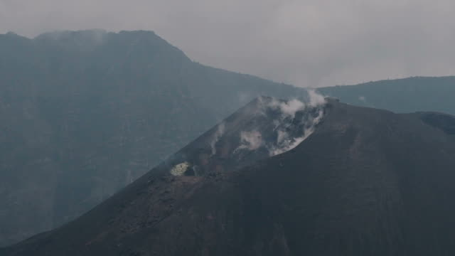 smoking volcano, mt rinjani, lombok, indonesia - caldera stock videos and b-roll footage