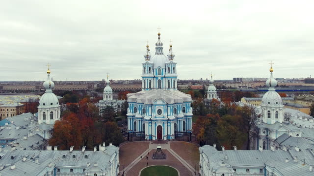 smolny cathedral of the resurrection of christ - st. petersburg russia stock videos & royalty-free footage