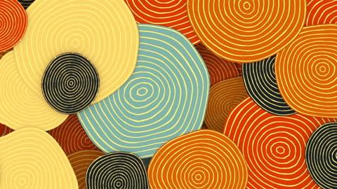 年に一度の環を持つ円の滑らかで催眠的な動きパターン。最小限のコンセプトアート3dレンダリングシームレスなループアニメーション。hd - 投影図点の映像素材/bロール