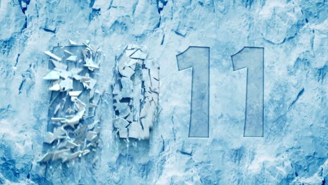 vídeos de stock, filmes e b-roll de transição suave de 2011 e 2012. evento de ano novo - geada
