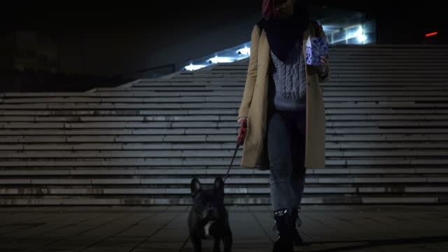 snack while walking dog - dog walking stock videos & royalty-free footage
