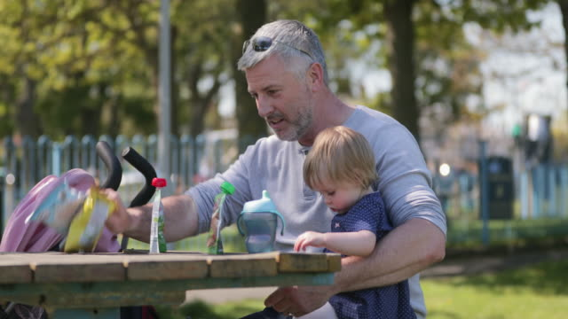 snacks at the park - two generation family stock videos & royalty-free footage