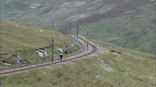 snaefell and mountain railway  - aerial view -, isle of man - isle of man stock videos & royalty-free footage