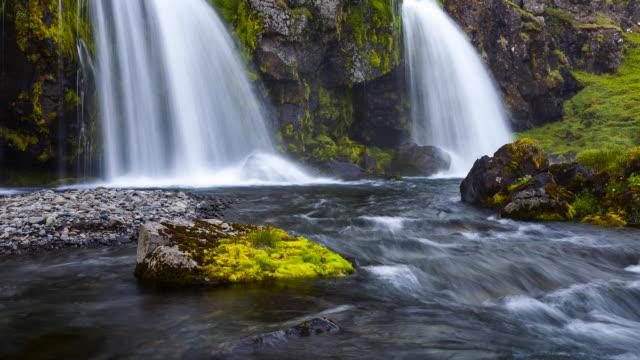 klakkurâ´s waterfalls, snaefellsnes peninsula, iceland, europe - snäfellsnes stock-videos und b-roll-filmmaterial
