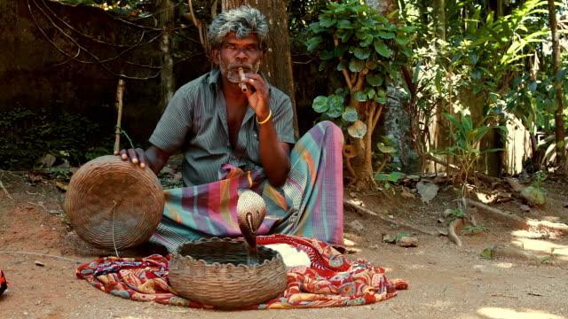 vidéos et rushes de charmeur de serpent au sri lanka - serpent