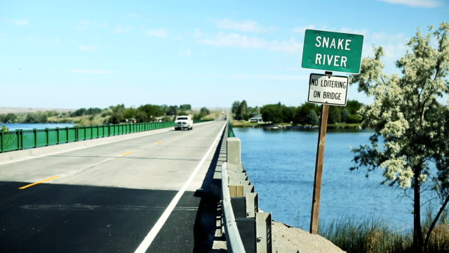 snake river bridge, no loitering - river snake stock videos & royalty-free footage