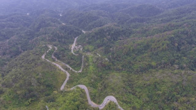 AERIAL FOOTAGE : Snake Road on Mountain