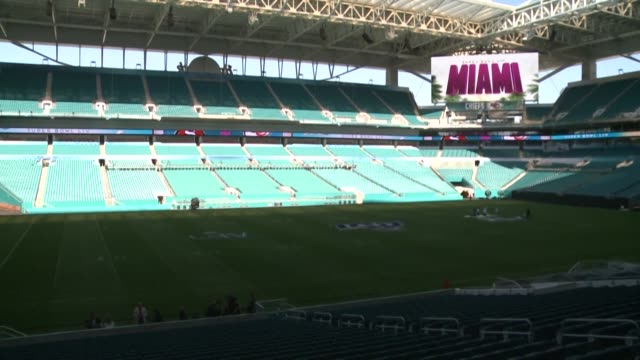 a sneak peek into miami's hard rock stadium as it gets ready to host the super bowl liv the 54th edition of the super bowl on february 2 - super bowl stock videos & royalty-free footage