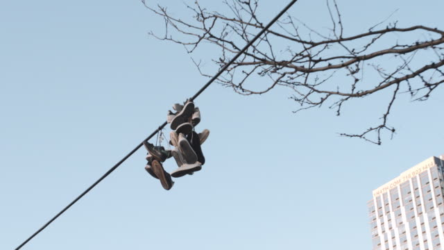 sneakers hanging above city streets - telephone line stock videos and b-roll footage