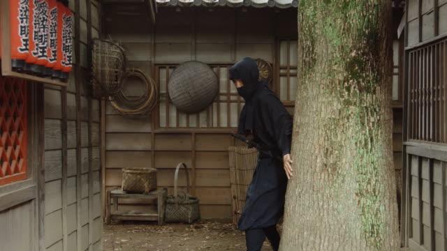 歴史的な村を通って実行している卑劣な忍者 - 社会史点の映像素材/bロール