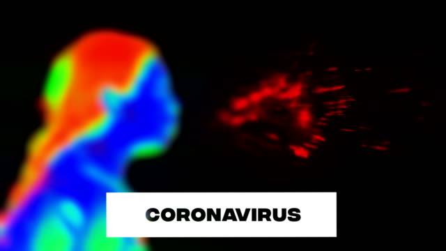 sneezing woman, coronavirus symptom, thermal image. use facial mask. - thermal imaging stock videos & royalty-free footage