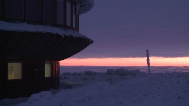 sniezka mountain peak at sunset - chapel stock videos & royalty-free footage