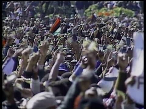 two suspects arrested; itn file washington dc: 1995 gvs million man march speaker addressing rally sot - there's a new black man in america today - sniper stock videos & royalty-free footage