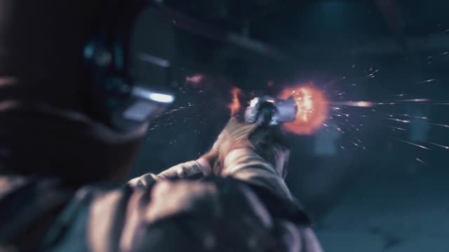 vídeos de stock, filmes e b-roll de treinamento de sniper em um campo de tiro. metralhadora - tiroteio