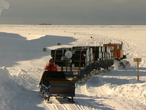 sno-cat carrying cargo from the supply ship rrs ernest shackleton. - ernest shackleton stock videos & royalty-free footage