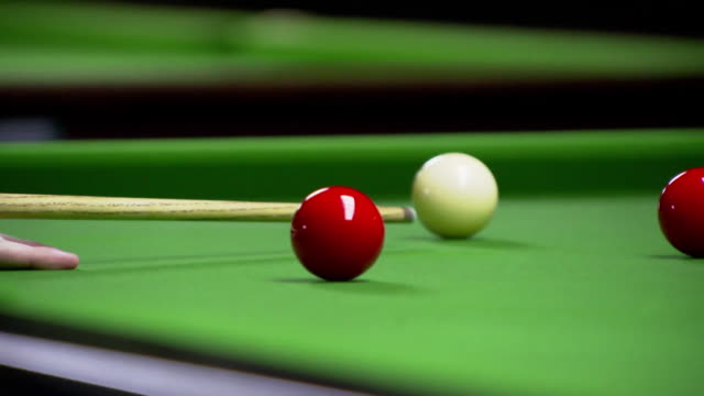 cu snooker ball hit with cue - taking a shot sport stock videos & royalty-free footage