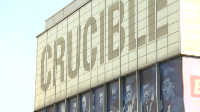 """snooker fans arriving at the crucible in sheffield for the world snooker championship, also a test pilot of indoor events during coronavirus pandemic - """"bbc news"""" stock videos & royalty-free footage"""