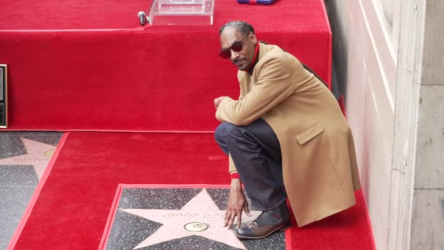 vidéos et rushes de snoop dogg at snoop dogg star on the hollywood walk of fame in los angeles ca - walk of fame