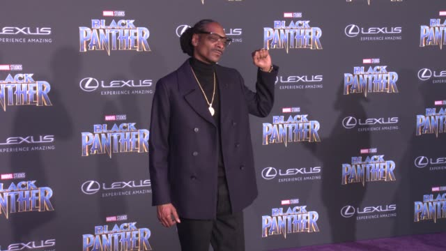 """snoop dogg at the marvel studios' """"black panther"""" world premiere at dolby theatre on january 29, 2018 in hollywood, california. - snoop dogg stock videos & royalty-free footage"""