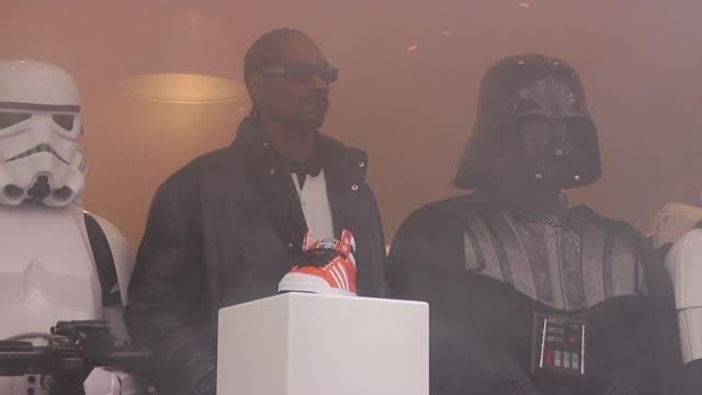 snoop dogg, darth vader and stormtroopers at the snoop dogg & stormtroopers launch adidas originals x star wars collection at new york ny. - adidas stock videos & royalty-free footage