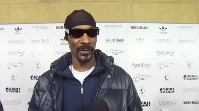 snoop dogg on working with adidas at the adidas & snoop dogg celebrate more malice deluxe album and mini movie at hollywood ca. - snoop dogg stock videos & royalty-free footage
