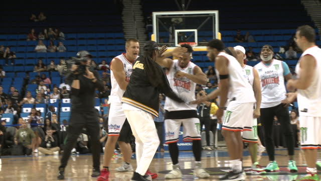 snoop dogg rob gronkowski at the monster energy $50k charity challenge celebrity basketball game in los angeles ca - basketball sport stock videos & royalty-free footage