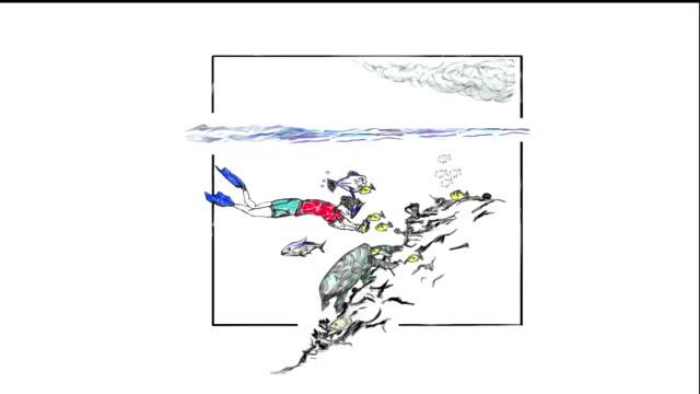 snorkeler mit kamera - männliche figur stock-videos und b-roll-filmmaterial