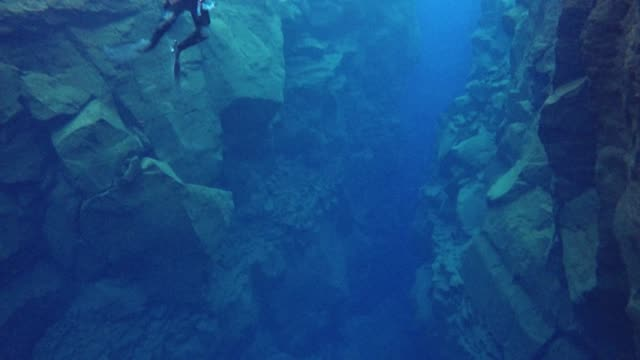 snorkelers explore crystal water between tectonic plates in iceland - tectonic stock videos & royalty-free footage