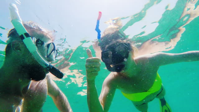 snorkeling couple - tropical climate stock videos & royalty-free footage