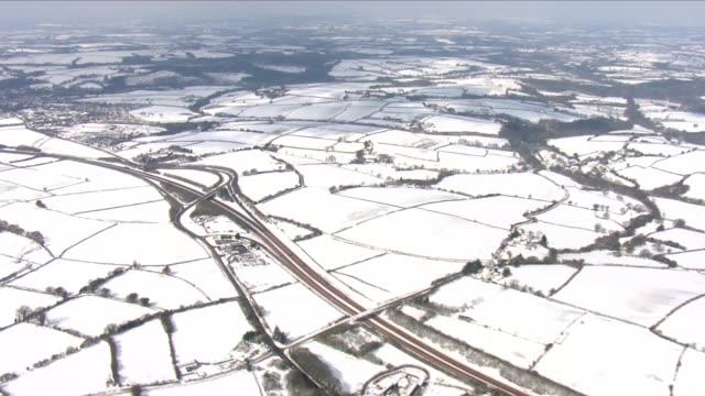 snow aerials of devon - england stock videos & royalty-free footage