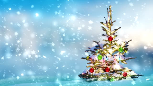 snow and christmas tree - fake snow stock videos & royalty-free footage