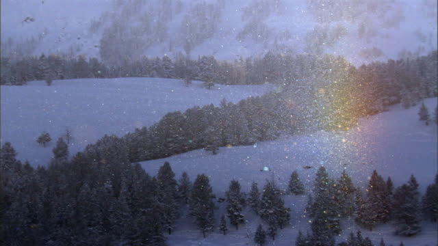snow and ice crystals create rainbow spectrum, yellowstone, usa - spectrum stock videos & royalty-free footage